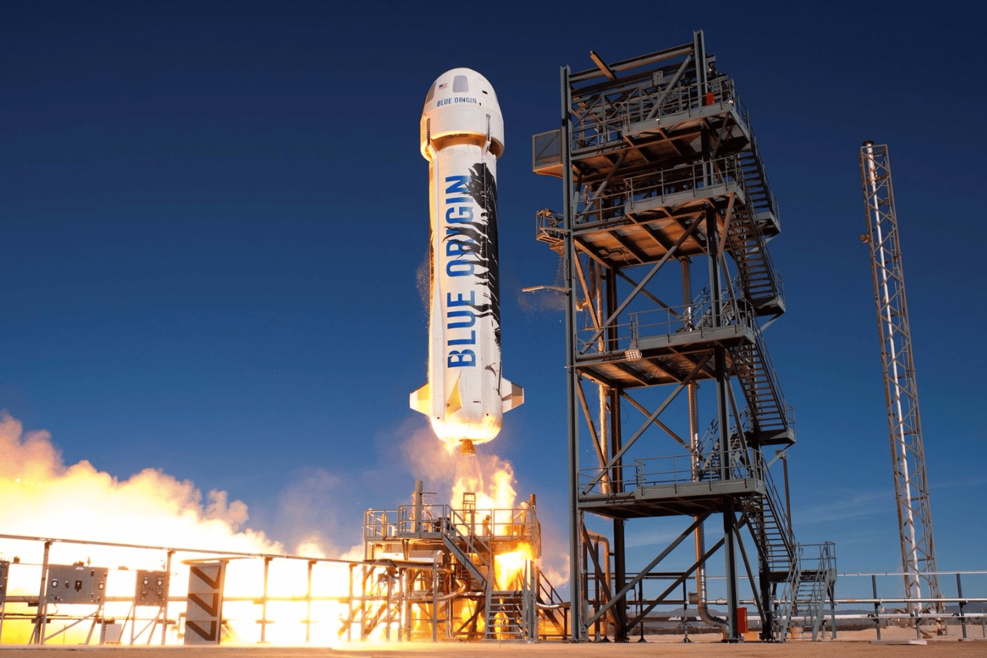 Someone has bid $28 million to be the first paying customer aboard Blue Origin's first passenger flight next month