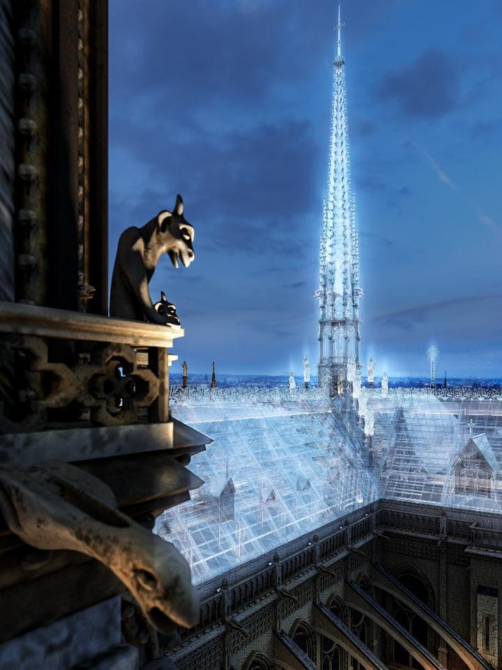 Eight Inc. envisions rebuilding the Notre-Dame's roof and spire just how it was – except using glass