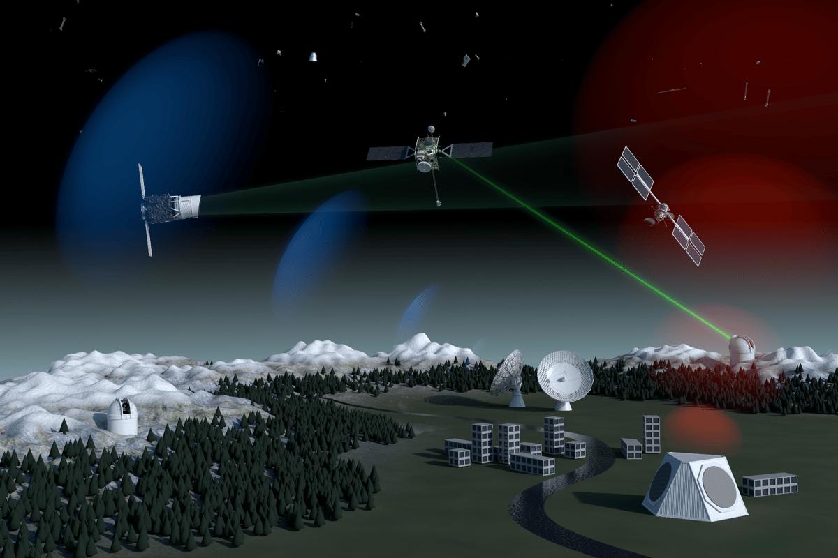Artist's concept of a future laser debris-tracking network