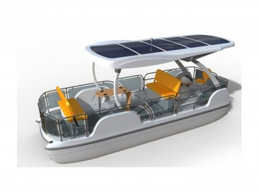 Loon solar powered pontoon boat