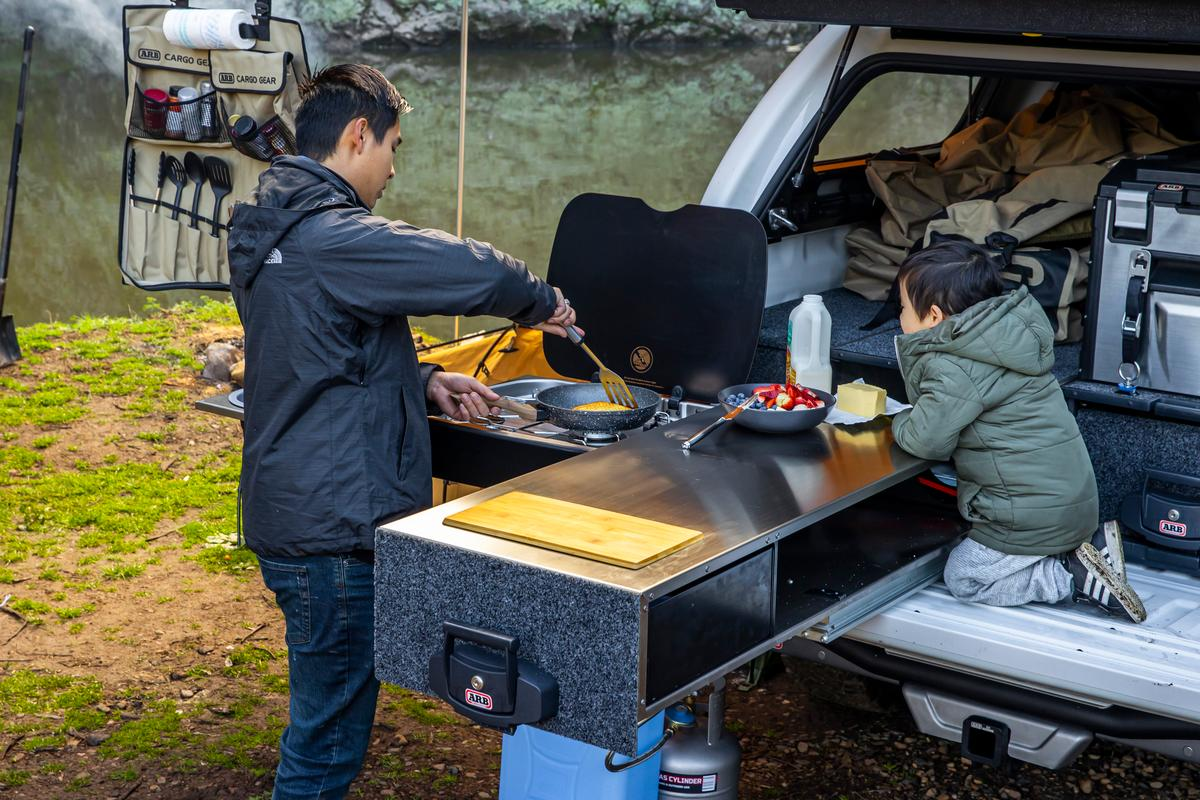 ARB camp kitchen slides and flips into gourmet backcountry cook station
