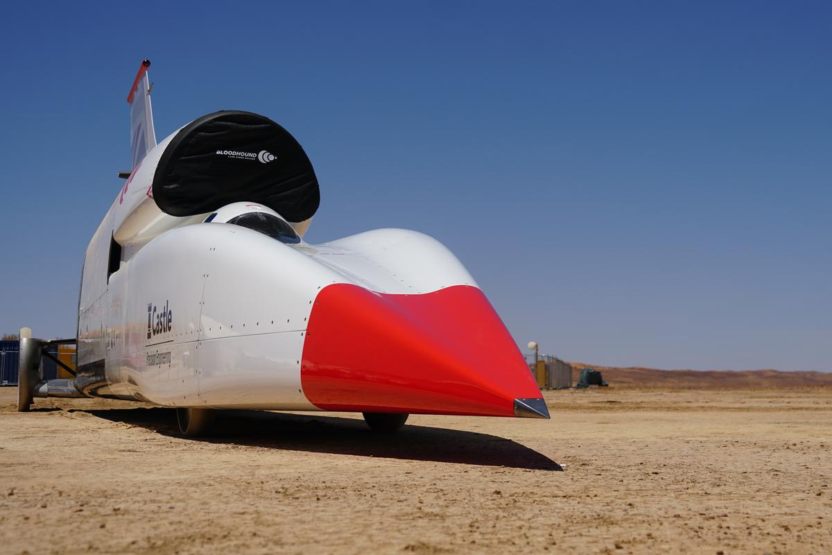 The Bloodhound LSR supersonic car is starting speed and stability testing in Hakskeenpan desert, Northern Cape, South Africa