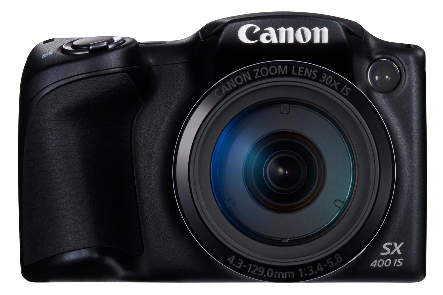 The lens on the Canon PowerShot SX400 IS is a 24-720-mm equivalent F3.4-F5.8