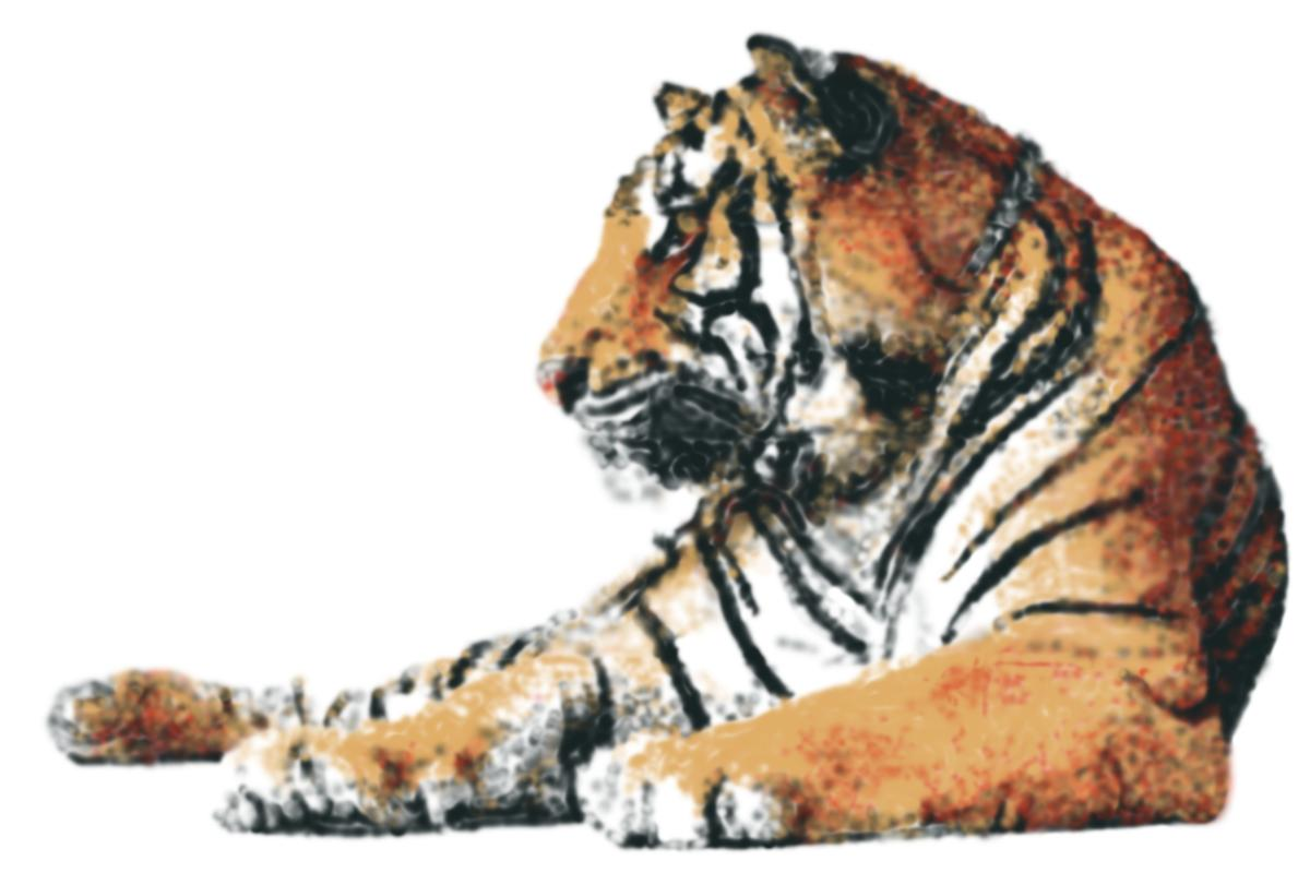 This spray-painted tiger was created using only four colors of spray paint