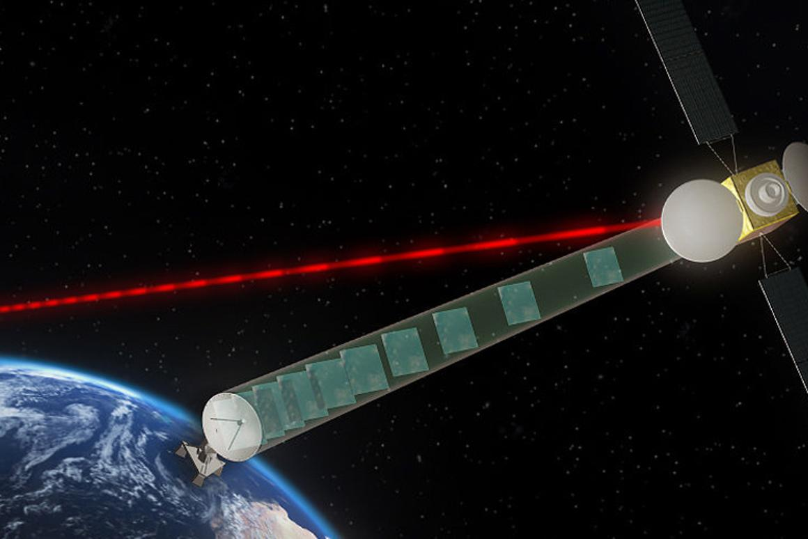 Lasers at the ready: An artist's impression of the EDRS, aka the SpaceDataHighway
