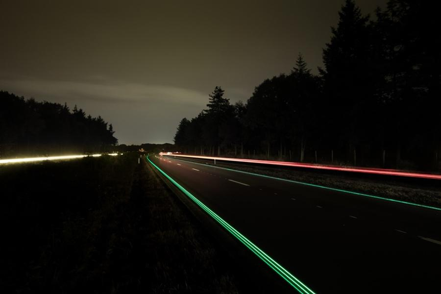 A road in the Netherlands has had glow-in-the-dark marking painted onto it for increased visibility and safety