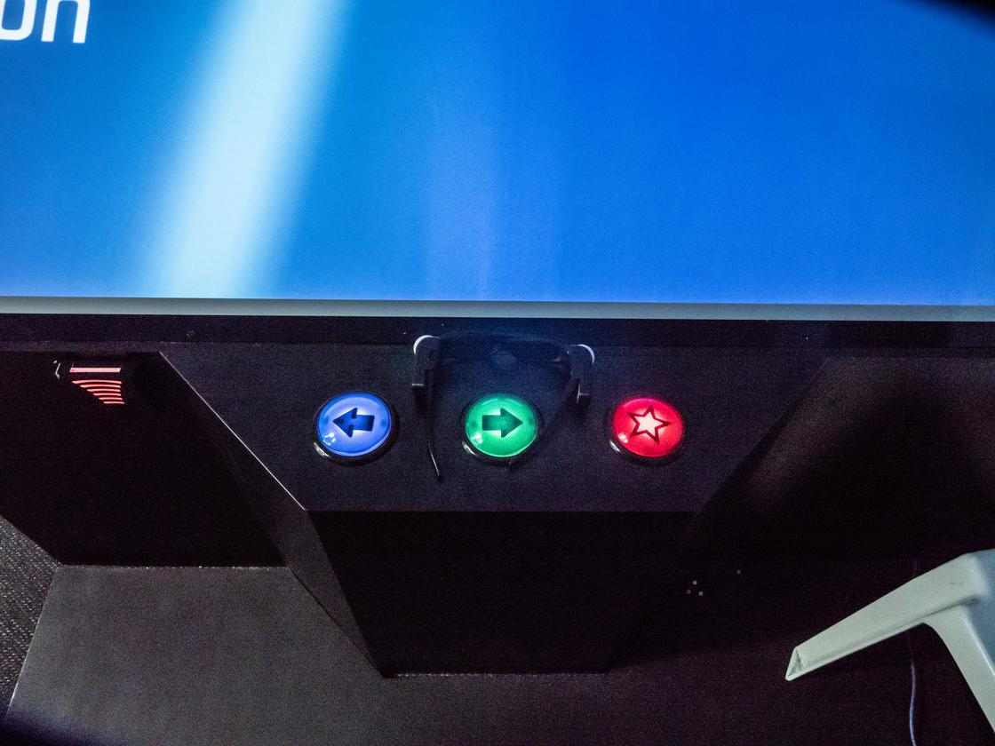 Euclideon's first batch of arcade tables use a simple three-button control system, which will soon be expanded to include joysticks, and eventually, hopefully, the ability to control the holograms with virtual touch