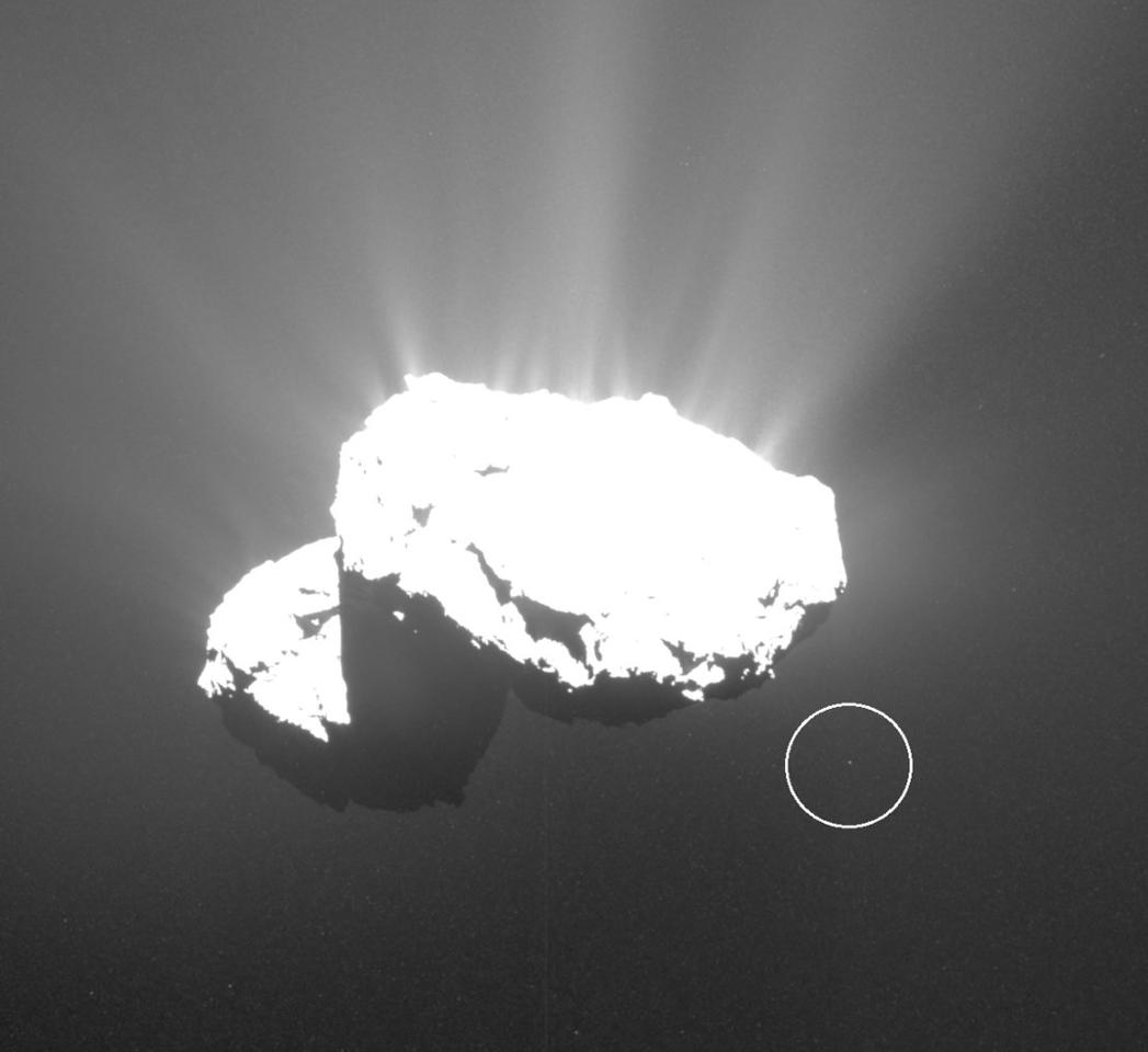 67P/Churyumov-Gerasimenko with its temporary moon (circle)