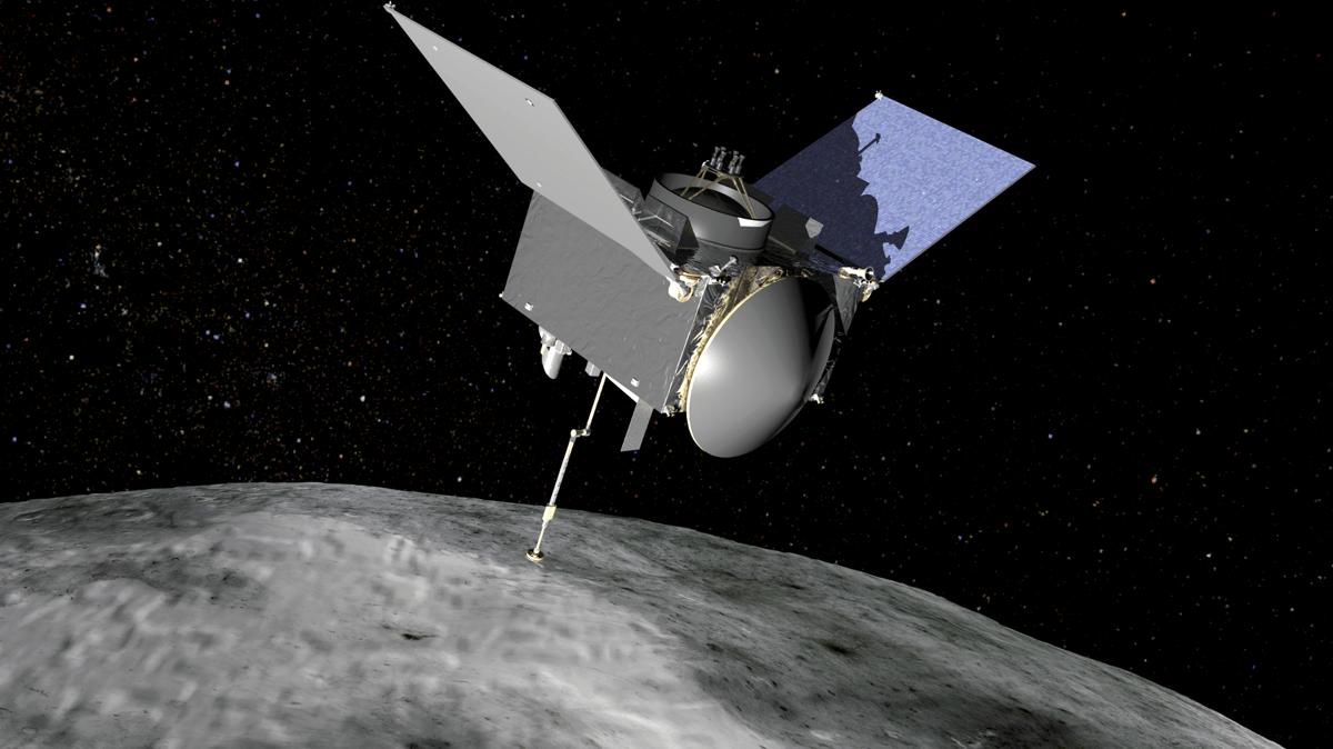 Artist's impression of the OSIRIS-REx spacecraft in action