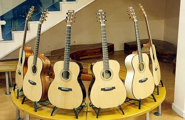 The six guitars which were used in the study
