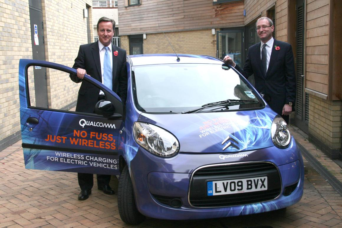 Qualcomm is carrying out a trial in London of its Qualcomm Halo wireless electric vehicle charging technology. U.K. PM, David Cameron (left), supports the initiative
