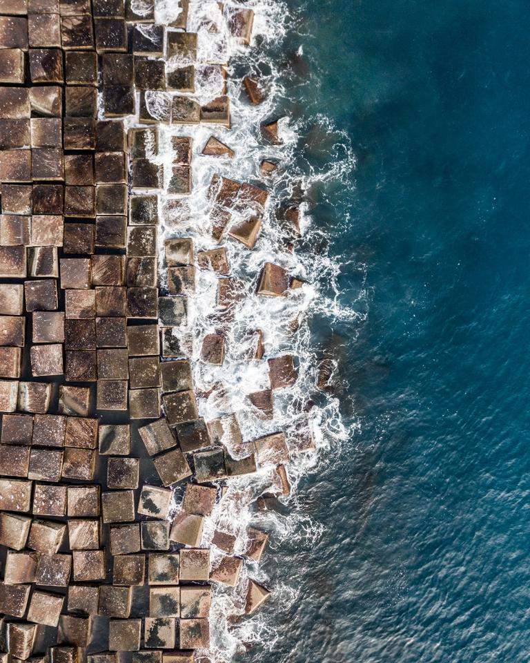 Blocks on a seawall in Barcelona
