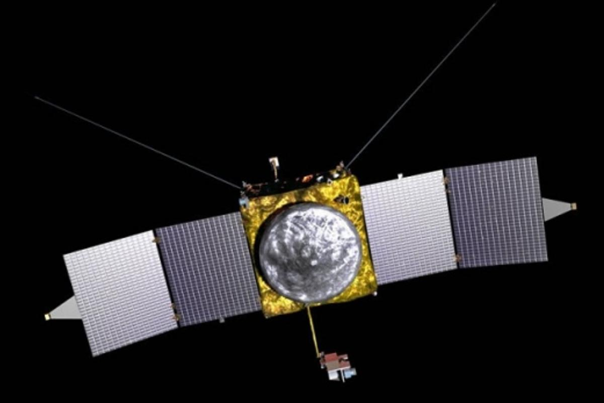 The craft, modelled on the Mars Reconnaissance Orbiter and Mars Odyssey, will arrive at Mars in September 2014, where it will have one (Earth) year to carry out its investigations. Image via NASA