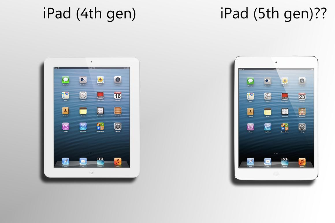 The report's description suggests that the iPad 5 will resemble a larger iPad mini