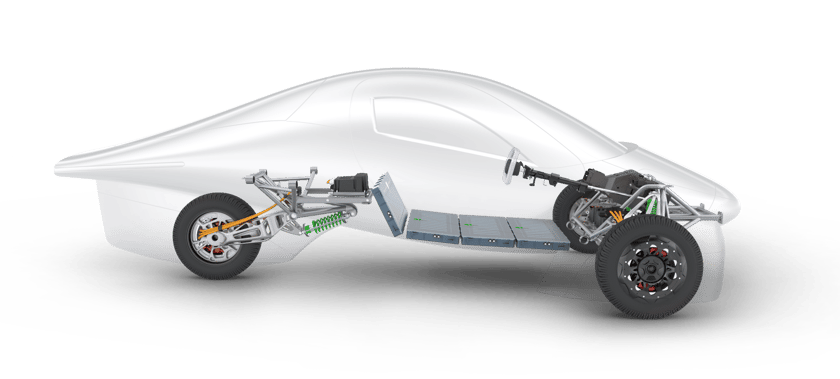 Simple chassis includes three 50-kW hub motors, a floor-mounted battery pack and a lightweight, super-strong composite chassis