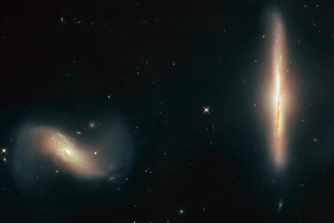 The interacting galaxies NGC 6285 (left) and NGC 6286 (right), located over 250 million light-years from Earth in the constellation of Draco