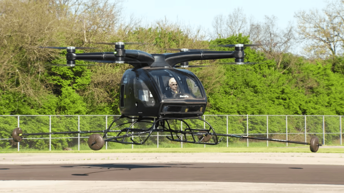 The Surefly takes to the air with a passenger for the first time