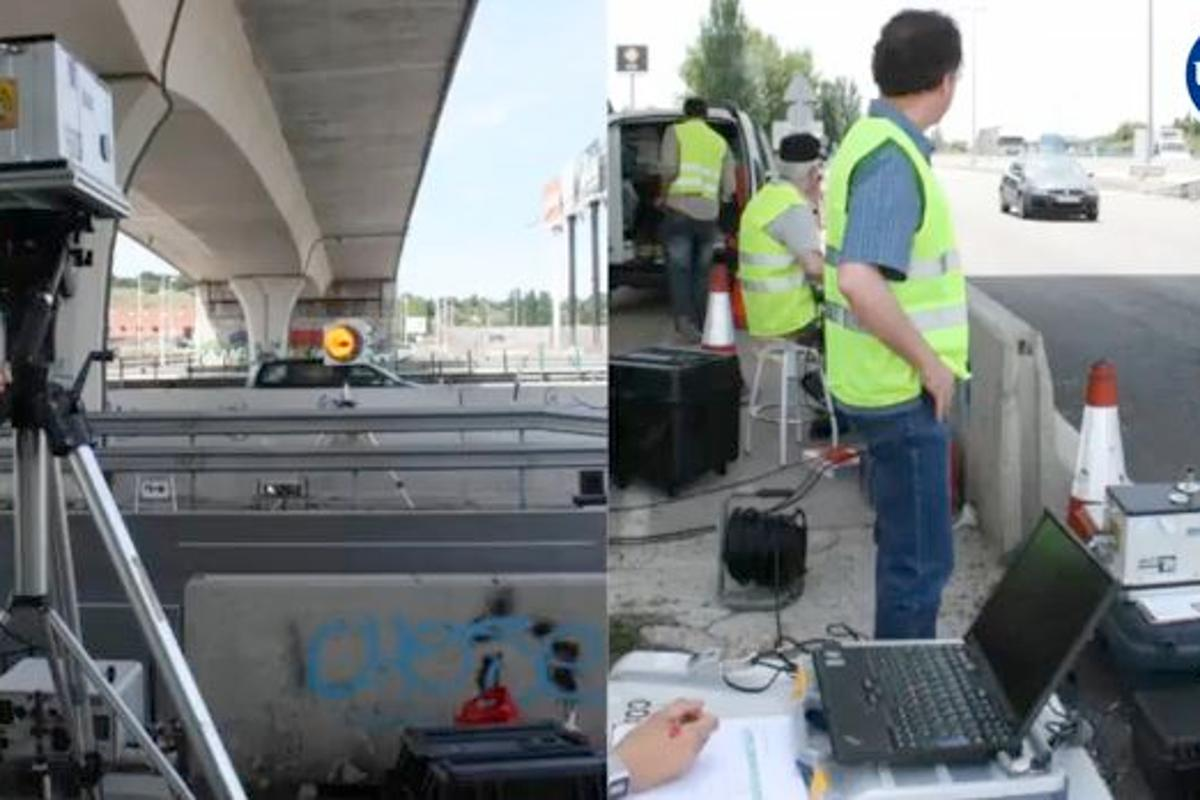 The new system being tested on the A6 highway, near Madrid