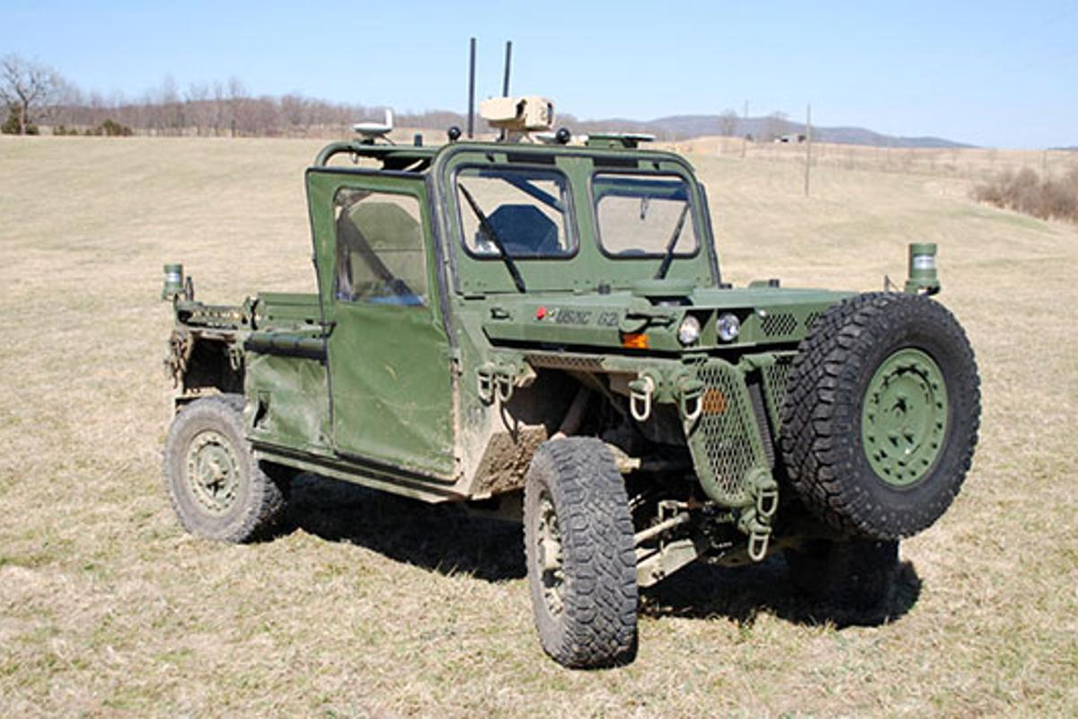 The US Marines' autonomous vehicle has successfully demonstrated the ability to follow a person wearing a beacon (Photo: TORC Robotics)