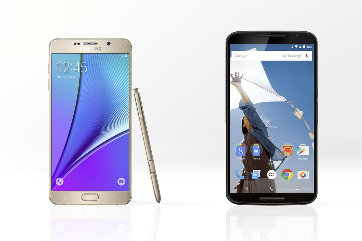 Gizmag compares the features and specs of the Samsung Galaxy Note 5 (left) and Google/Motorola Nexus 6