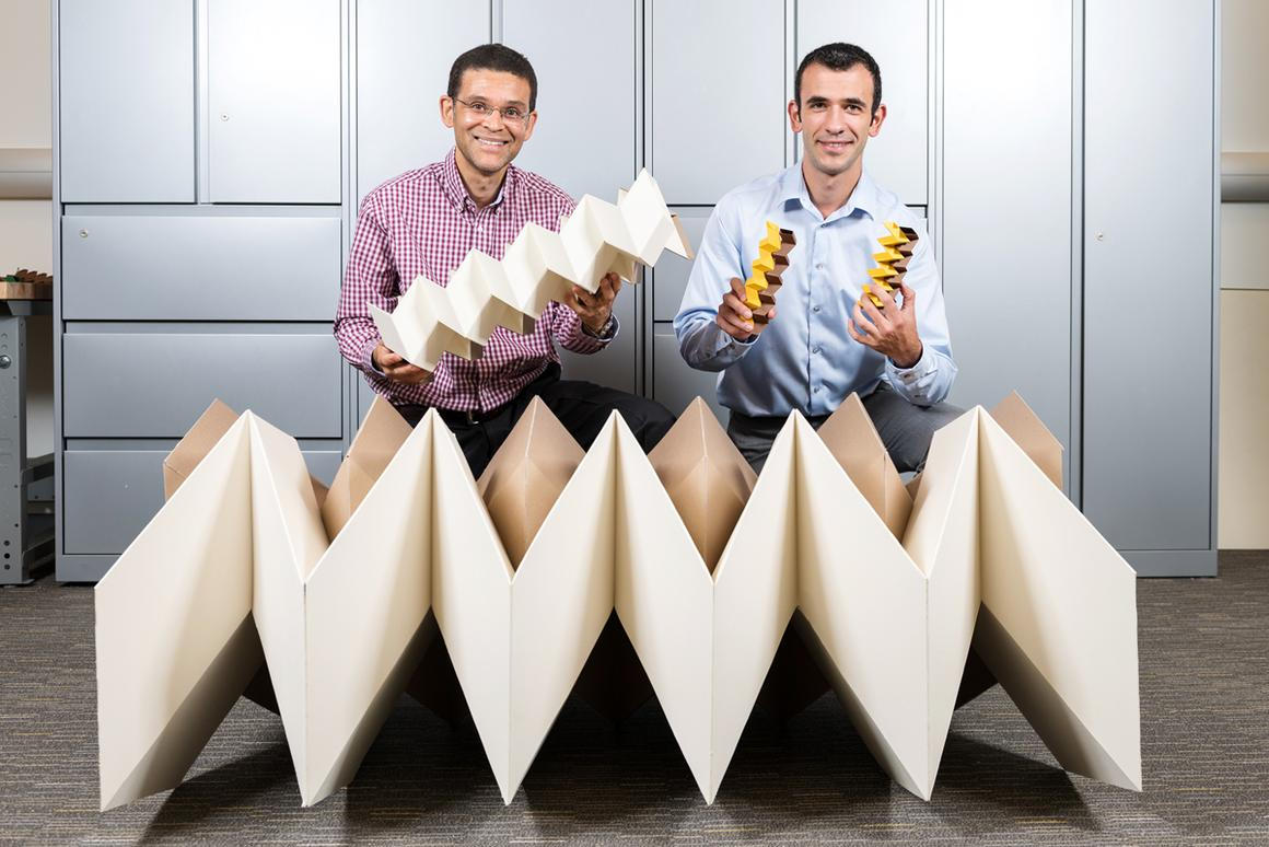 """Glaucio Paulino and Evgueni Filipov with the structures resulting from an origami """"zippered tube"""" folding pattern"""
