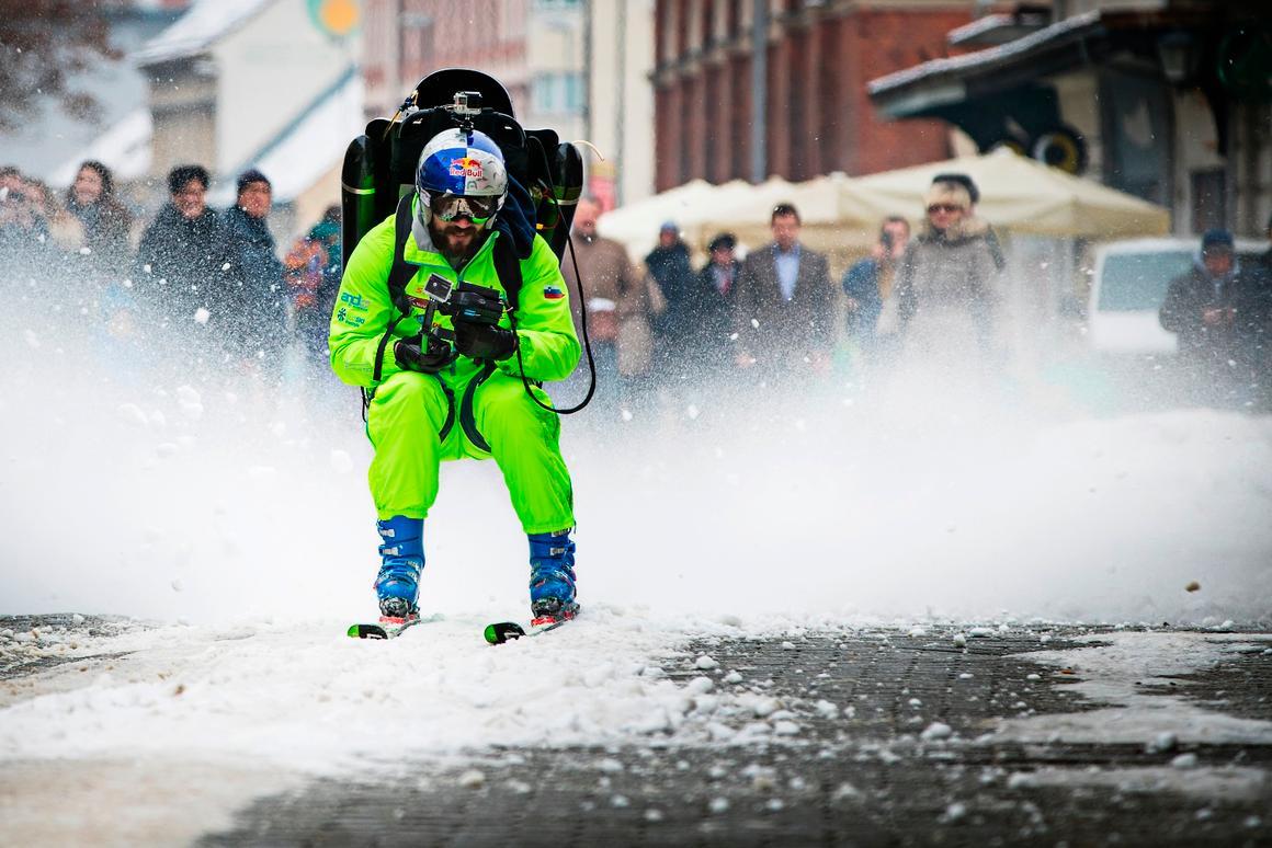 Filip Flisar tears down the street under jetpack power in latest Red Bull stunt