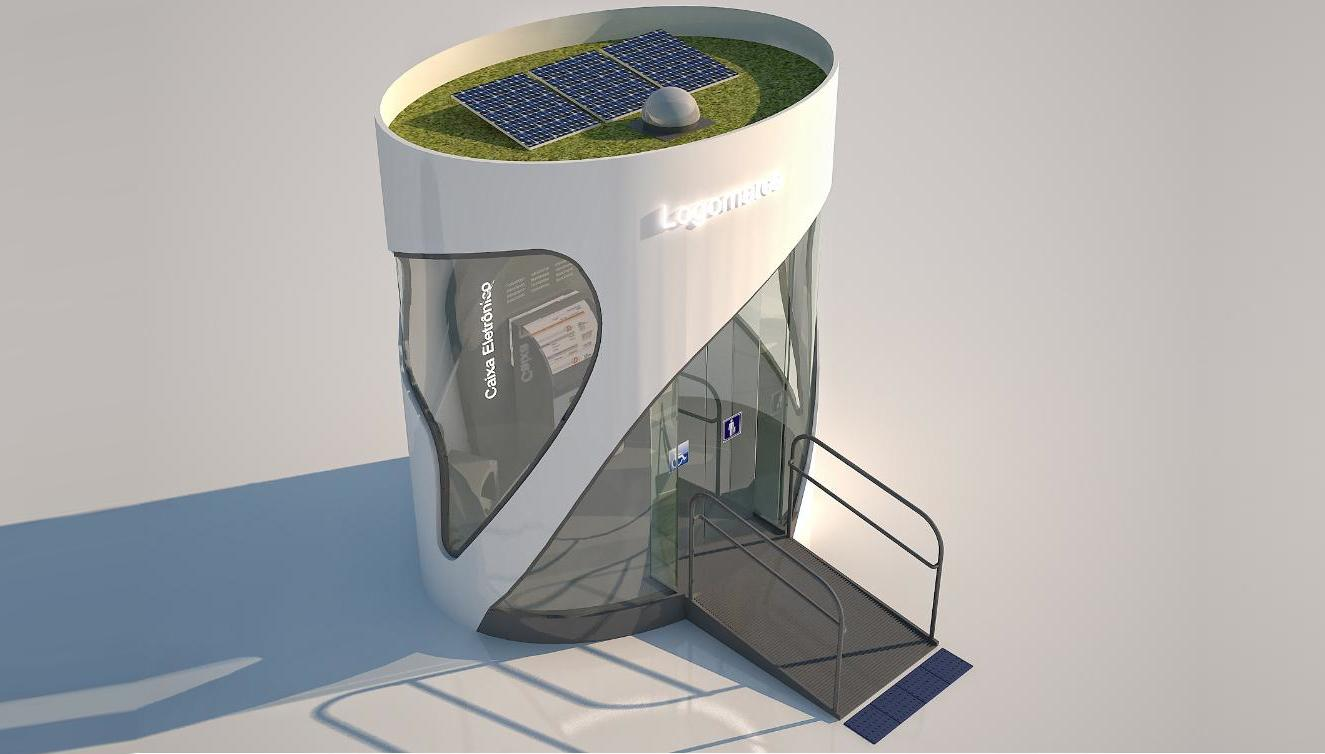 The eco-friendly ATM booth constructed from environmentally friendly raw materials
