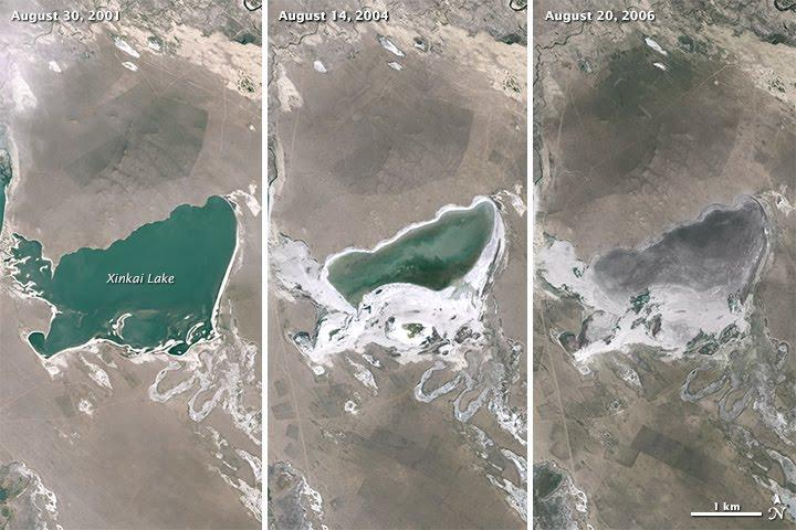 LandSat images show shrinking lakes on the Mongolian Plateau over time (Image: NASA/USGS)