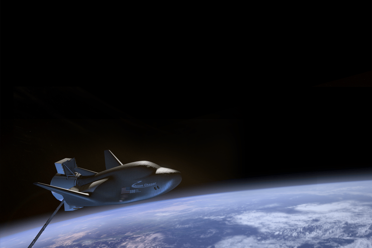 Artist's impression of the unmanned Dream Chaser in orbit (Image: SNC)