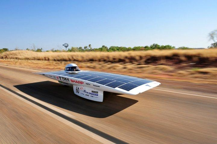 """Team Tokai has just reached the """"Finish of Timing"""" checkpoint in the 2011 World Solar Challenge (Photo: Hideki Kimura)"""