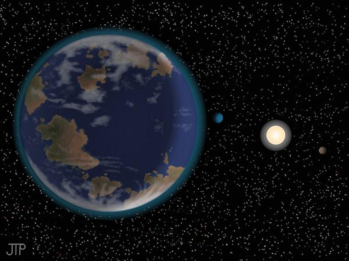 Artist's concept of the HD 40307 planetary system featuring a close-up view of HD 40307g, which orbits within the habitable zone (Image: J. Pinfield, for the RoPACS network at the University of Hertfordshire)