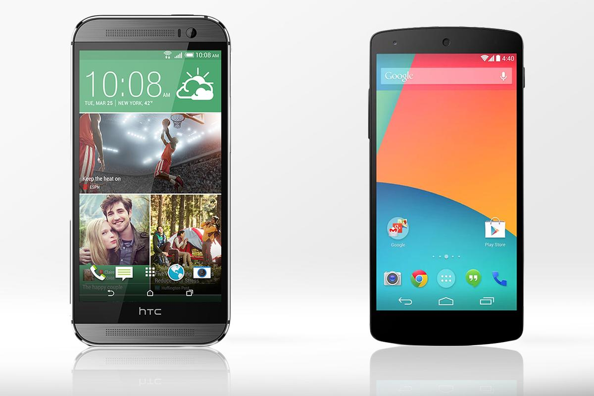 Gizmag compares the features and specs of the 2014 HTC One (M8) and LG/Google Nexus 5