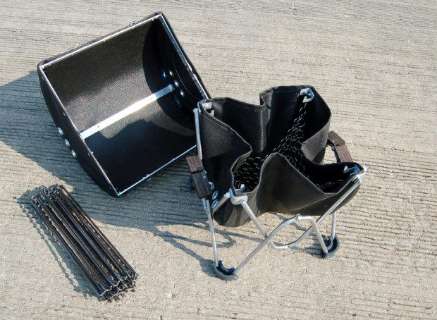 The GoBQ's body and cooking grate fold up to fit in the carry case