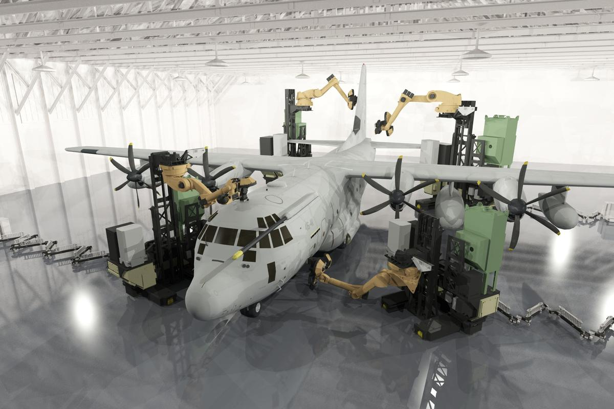 Team of robots decoating a cargo plane