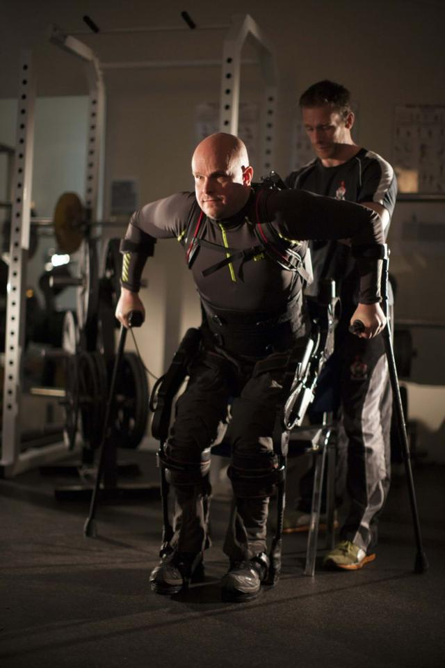 UCLA researchers claim to have provided the means for a person with chronic, complete paralysis enough voluntary control to actively walk with a robotic exoskeleton.