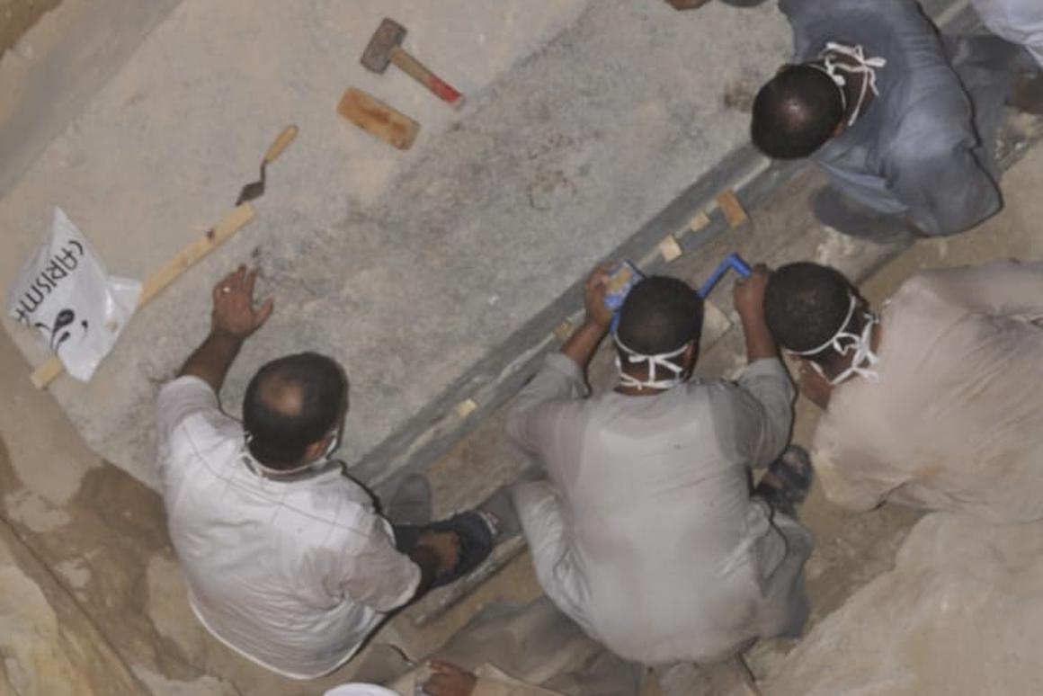Archaeologists have opened the giant black sarcophagus discovered in Alexandria two weeks ago