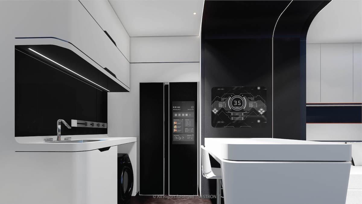 Кухнята на модела с една спалня има място за хладилник с двойна врата и пералня под плота