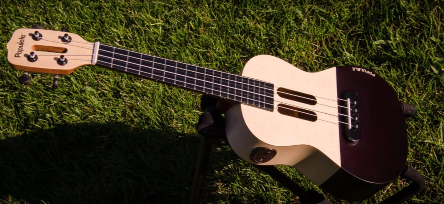 The Populele is constructed from maple, with a spruce soundboard and Aquila strings said to provide a warm, soft tone