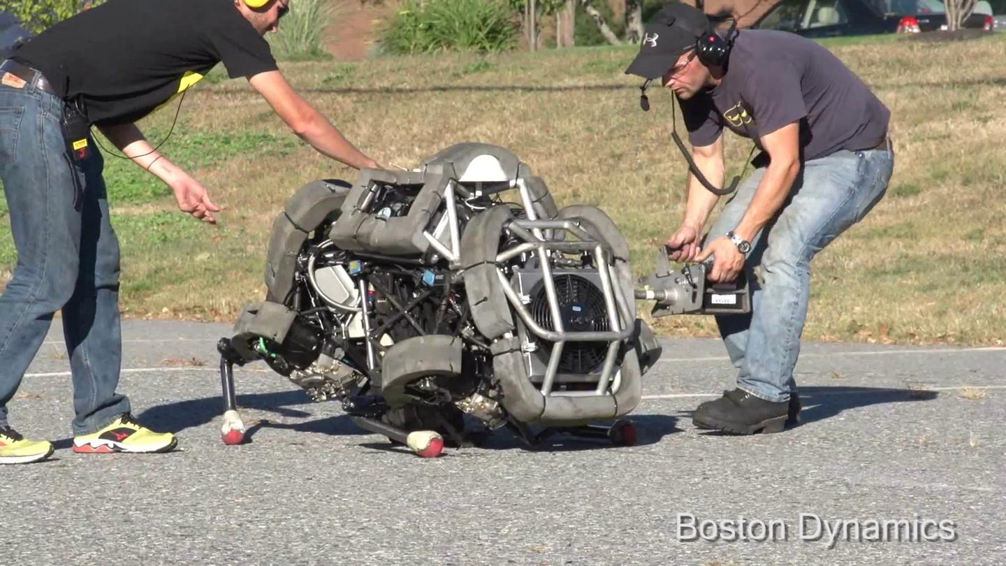 Boston Dynamics engineers prep WildCat for an outdoor demonstration