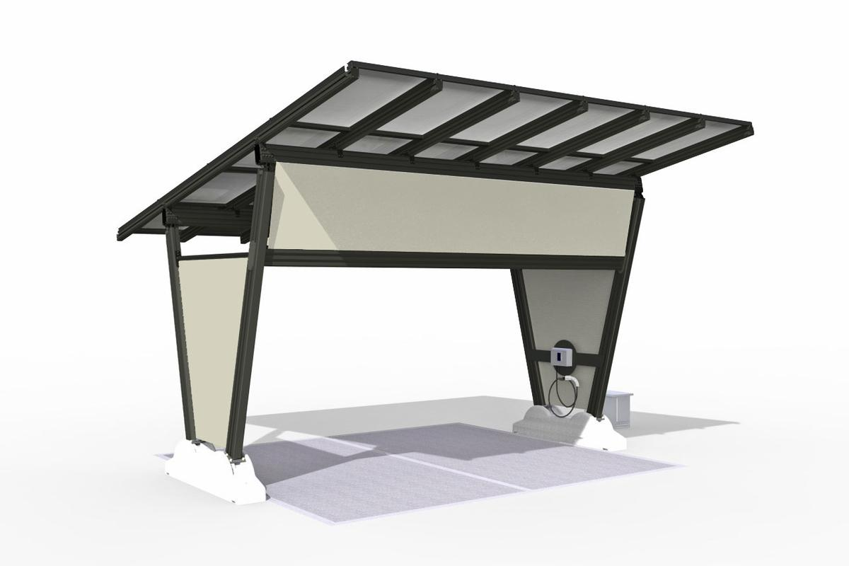 renewz sustainable solutions's isola solar charging carport is portable, and can fully charge a car in five hours