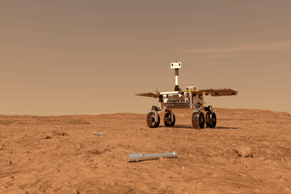 Artist's concept of the Sample Fetch Rover approaching a sample tube for pickup