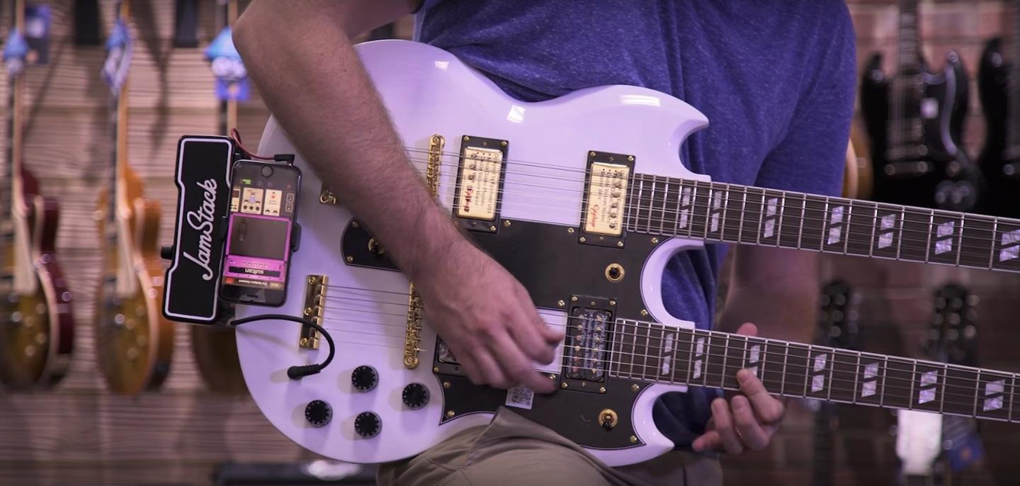 The JamStack is designed to fit most electric guitars