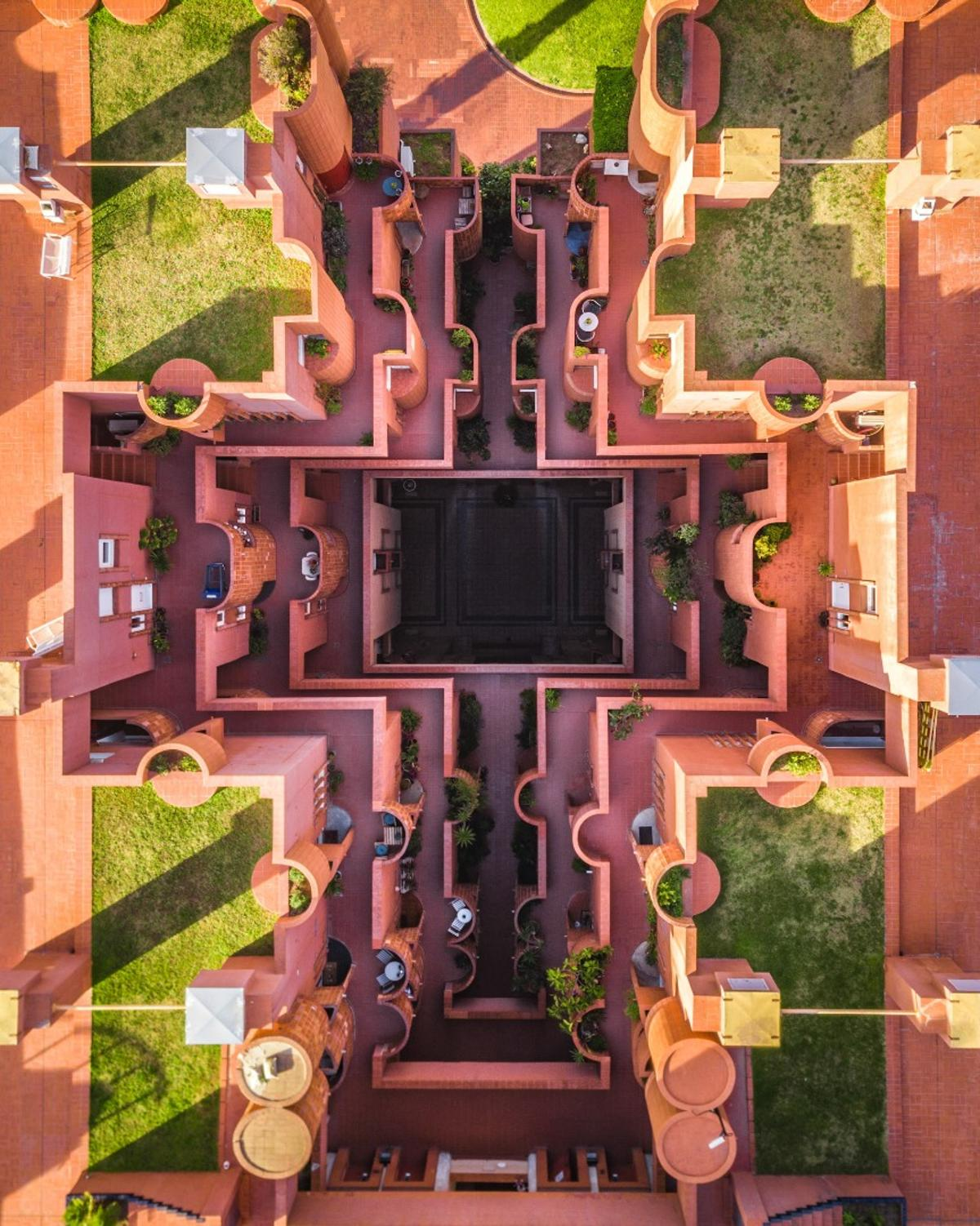 Ricardo Bofill's Walden 7 in Barcelona captured from above