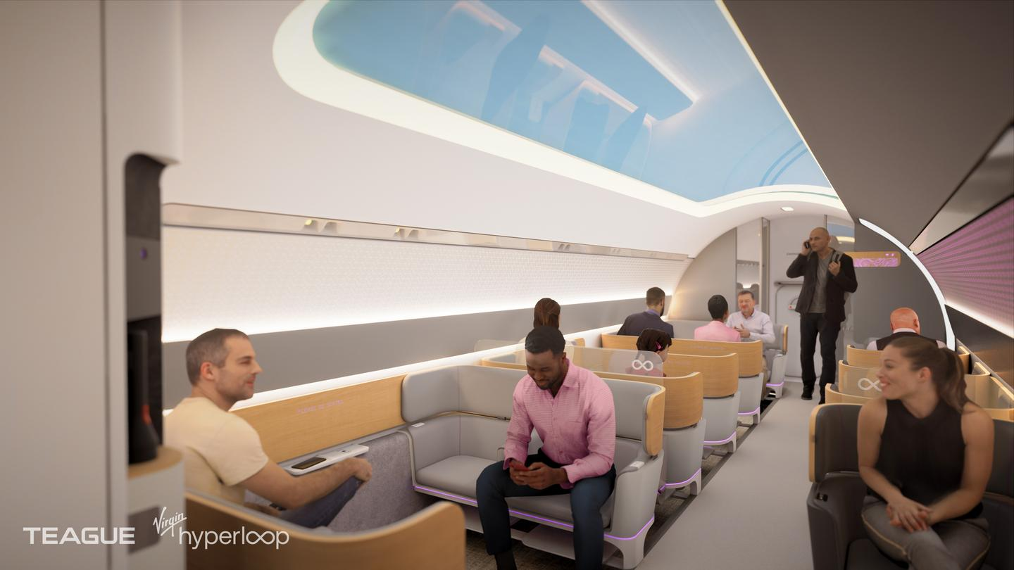 This latest version of Virgin Hyperloop passenger capsule is described as the Commercial Vehicle