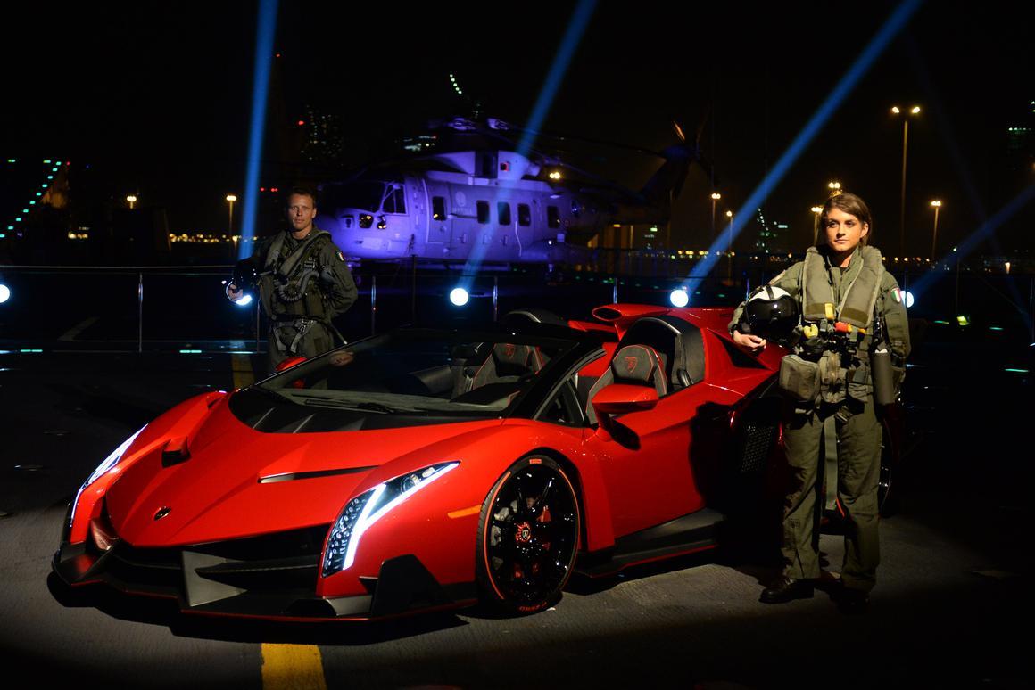 The Lamborghini Veneno Roadster makes its public debut aboard the Nave Cavour