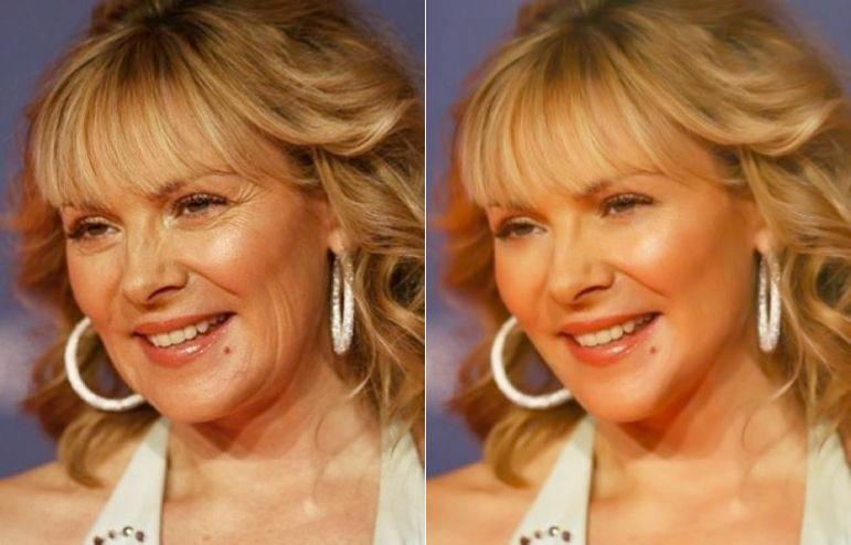 On a scale of 1 to 5, how much retouching would you say was applied to the left-hand image of Kim Cattrall, to arrive at the vision of loveliness on the right?