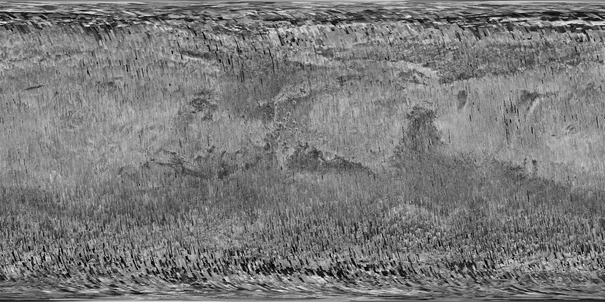 Mosaic of the Martian surface displaying the glabal coverage achieved by NASA's MRO spacecraft