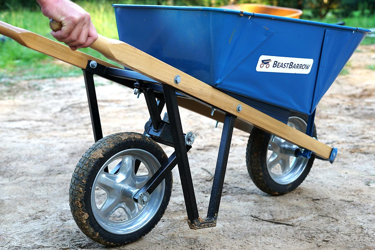 The BeastBarrow attachment means that users only need to push the wheelbarrow around the construction site, not lift and push