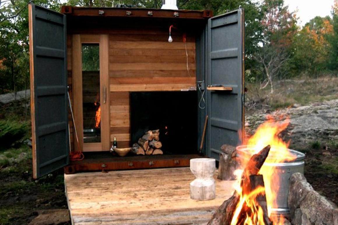 Once opened and in use Sauna Box comes into its own, being a wood-burning sauna perfect for cold conditions