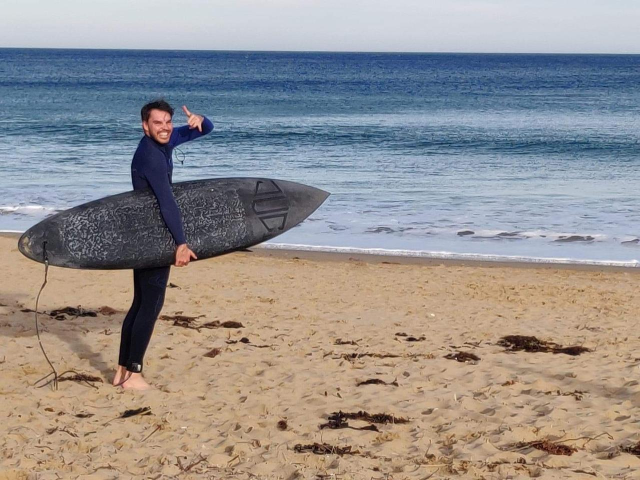 JUC's surfboard is said to offer the same flexibility as a traditional one